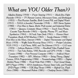 What Are YOU Older Than Perfect Poster