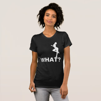 What? Asks a beauty. Black Customizable T-Shirt