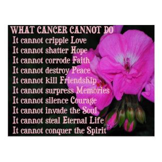 What Cancer Cannot Do PinkGeranium Flower Postcard