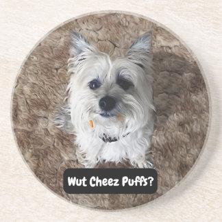 What Cheese Puffs? Round Sandstone Coaster