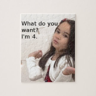 """What Do You Want? I'm 4."" Customizable Kid Photo Jigsaw Puzzle"