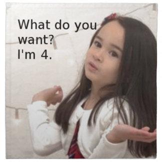 """What Do You Want? I'm 4."" Customizable Kid Photo Napkin"