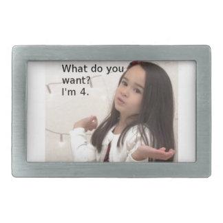 """What Do You Want? I'm 4."" Customizable Kid Photo Rectangular Belt Buckle"