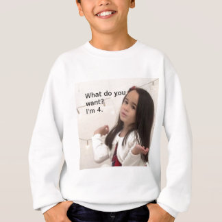 """What Do You Want? I'm 4."" Customizable Kid Photo Sweatshirt"