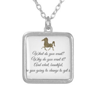 What do you want unicorn? silver plated necklace