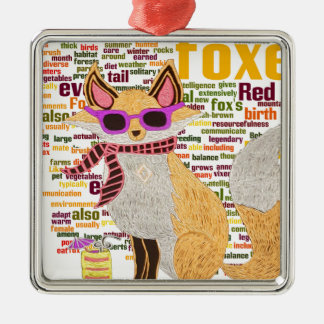 What does the fox say Silver-Colored square ornament