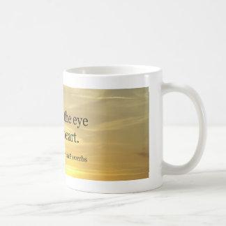 What fills the eye classic white coffee mug