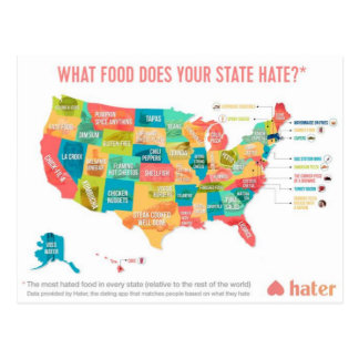 What Food Does Your State Hate? Postcard