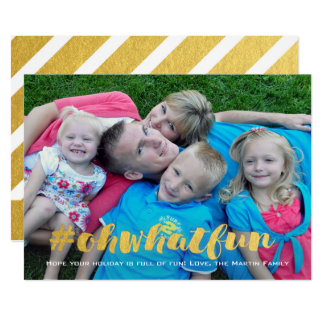 What Fun Gold Overlay Christmas Photo Card
