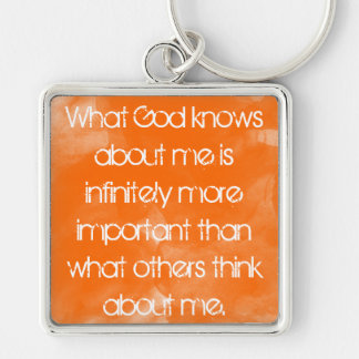 what God knows about me christian quote keychain