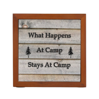 What happens at camp stays at camp desk organizer