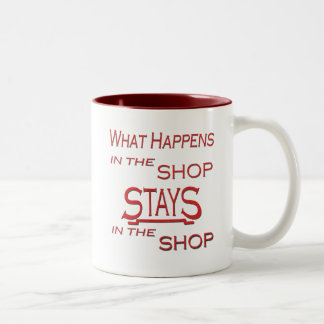 What Happens At The Shop Two-Tone Coffee Mug