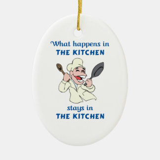 WHAT HAPPENS IN KITCHEN CERAMIC ORNAMENT