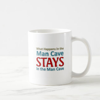 What happens in the Man Cave Classic White Coffee Mug