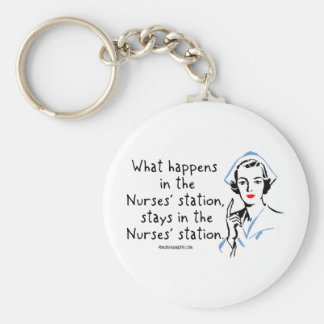 What Happens in the Nurses Station Basic Round Button Keychain