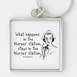 What Happens in the Nurses Station Silver-Colored Square Keychain