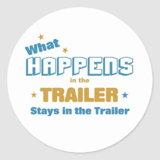 what happens in the trailer classic round sticker