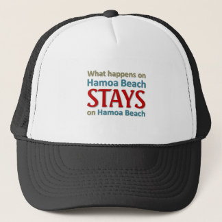 What happens on Hamoa Beach Trucker Hat