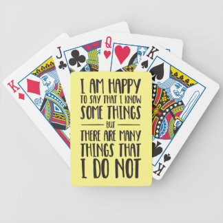 What I Know - Inspirational Quote Bicycle Playing Cards
