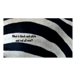 What is black and white and red a... pack of standard business cards
