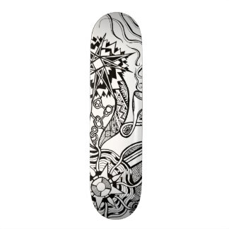 What is happening skateboard with doodle art