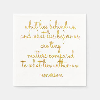 What Lies Within Us Emerson Gold Faux Foil Quote Paper Napkin