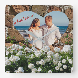 """What Love is? """"bricks border with flowers"""" Square Wall Clock"""