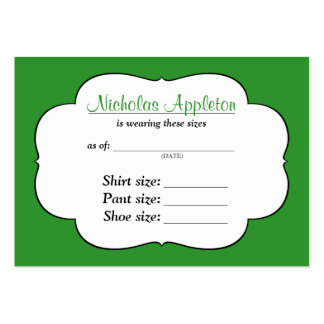 What Size is My Child Wearing Now? Gift idea cards Large Business Cards (Pack Of 100)