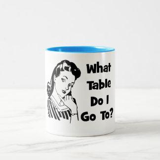 What Table Do I Go To? Two-Tone Coffee Mug