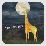 What the moon tastes like? Giraffe and Moon Sticke Square Sticker