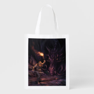 What was that? A Dragon watches a warrior Reusable Grocery Bag