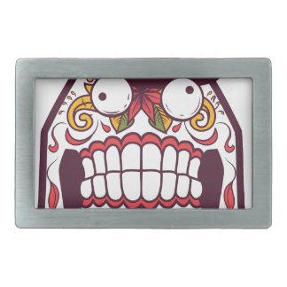 what wat scary teeth design rectangular belt buckle