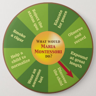 What Would Maria Montessori Do? 6 Inch Round Button