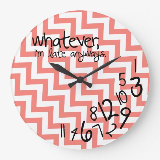 whatever - coral pink chevron pattern large clock