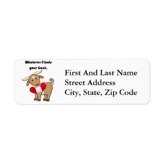 Whatever Floats your Goat Life Preserver Cartoon Return Address Label