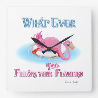 Whatever Floats Your Pink Flamingo Wall Clock