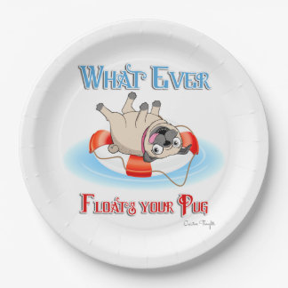 Whatever Floats Your Pug Paper Plate