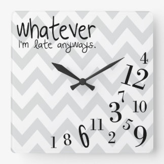 whatever - gray and white chevron clocks