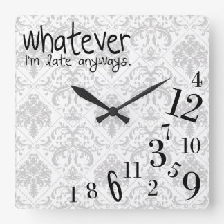 whatever - gray and white damask pattern square wall clock