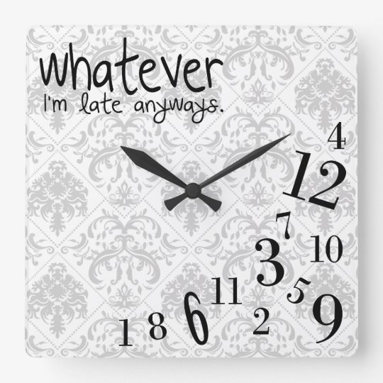 whatever - grey and white damask pattern wallclocks