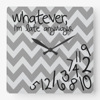 Whatever I m late anyways Square Wallclocks