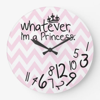 Whatever, I'm a Princess - pink and white chevron Large Clock