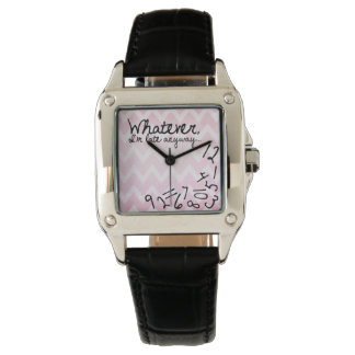 Whatever, I'm late anyway pink chevron Wrist Watches
