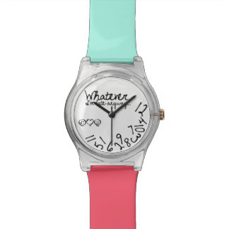 Whatever, I'm late anyway - Teal and Pink bands Wristwatches