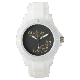 Whatever, I'm late anyways - black and gold Wrist Watch
