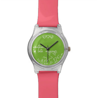 Whatever, I'm late anyways - Coral Pink / green Watch