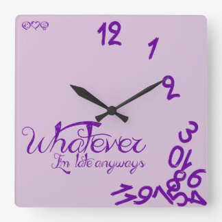 Whatever, I'm Late Anyways - light purple Wallclocks