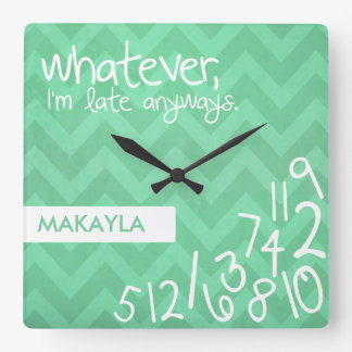whatever, I'm late anyways - rustic mint chevron Square Wall Clock