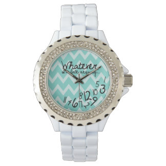 Whatever, I'm late anyways - Teal Chevron Wrist Watches