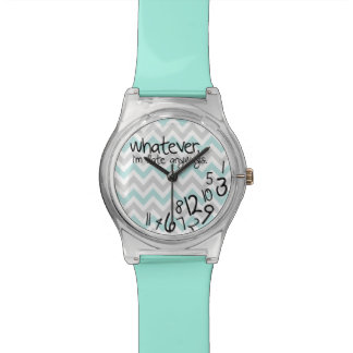 Whatever, I'm late anyways - Turquoise Chevron Watch